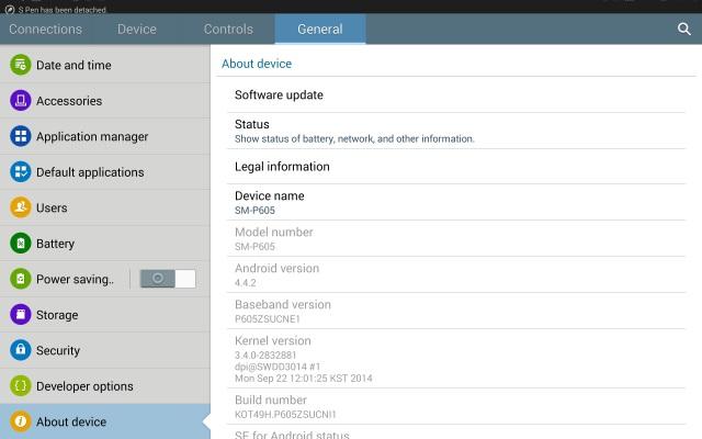 Galaxy Note 10.1(2014)SM-P605日本語化6