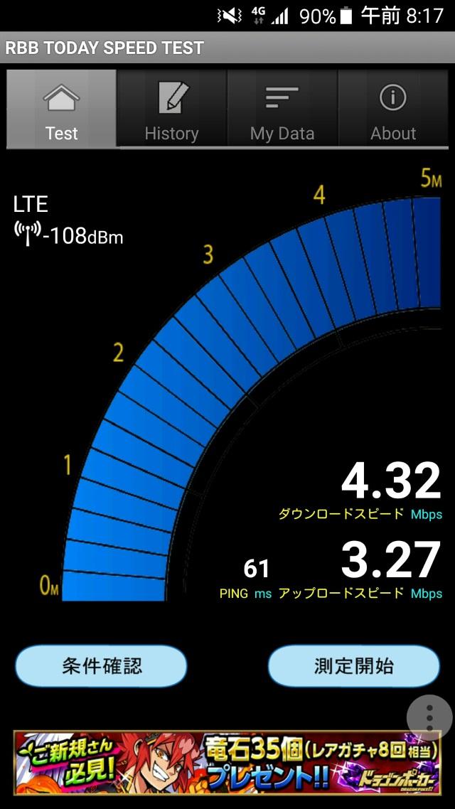 NifMo通信速度計測結果